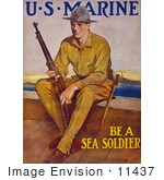 #11437 Picture Of A Marine Soldier With A Rifle