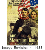 #11438 Picture Of Immigrants And American Flag