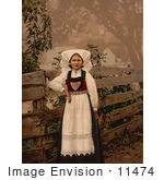 #11474 Picture of a Norwegian Woman by a Fence by JVPD