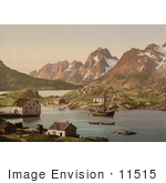 #11515 Picture Of A Ship And Waterfront Homes Raftsund Lofoten Digermulen Norway