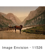 #11526 Picture Of A Norwegian Woman In A Carriage Hardanger Fjord