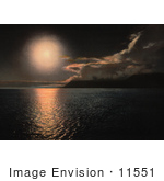 #11551 Picture Of A Midnight Sun Over Advent Bay Norway
