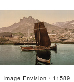 #11589 Picture Of Ships And A Town Nordlandsbaad Nordland Norway