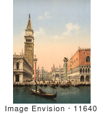 #11640 Picture Of The Bell Tower And Boats Venice Italy