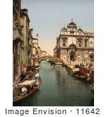 #11642 Picture Of Gondolas On Canal Venice