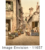 #11657 Picture Of People In A Courtyard Venice Italy