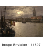 #11697 Picture Of The Grand Canal And Doges' Palace At Night