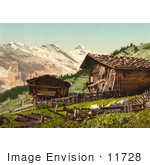 #11728 Picture Of A Swiss House Near Mountains