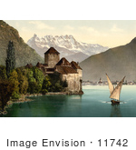 #11742 Picture Of A Boat And Dents Du Midi By Chillon Castle