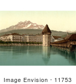 #11753 Picture Of Chapel Bridge Water Tower And Pilatus Switzerland