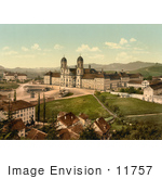 #11757 Picture Of Einsiedeln Abbey And Schoolhouse In Switzerland