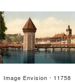 #11758 Picture Of The Water Tower And Chapel Bridge In Switzerland