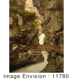 #11780 Picture Of A Wood Path Through A Gorge Switzerland