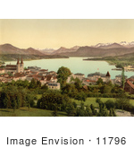#11796 Picture Of A Lake Front Village On Lake Lucerne Switzerland
