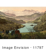 #11797 Picture Of A House On The Lake Lungern Switzerland
