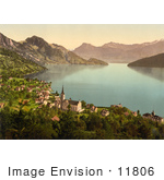 #11806 Picture Of The Village Of Weggis On Lake Lucerne