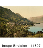 #11807 Picture Of The Waterfront Village Of Sachseln Switzerland
