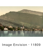 #11809 Picture Of The Village Of Weggis On Lake Lucerne