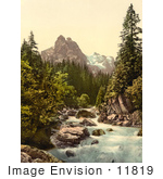 #11819 Picture Of A River And Wetterhorn Mountain Switzerland