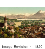 #11820 Picture Of The Village Of Thun And Lake Thun In Switzerland
