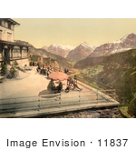 #11837 Picture Of People On A Balcony Near Mountains Switzerland