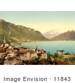 #11843 Picture Of The City Of Montreux On Geneva Lake