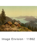 #11862 Picture Of Houses Near Lake Lucerne Switzerland