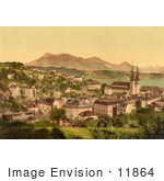 #11864 Picture Of The City Of Lucerne And Rigi Mountain In Switzerland
