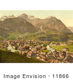 #11866 Picture Of The Linth River In The Town Of Schwanden Glarus Switzerland