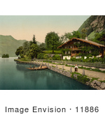 #11886 Picture Of People In A Boat Near A House Brienz Lake