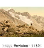 #11891 Picture Of A Man On The Furkahorn Looking At Furka Pass