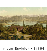 #11896 Picture Of A House On Lake Lucerne Swiss Alps In The Background