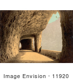 #11920 Picture Of A Person Viewing Lake Lucerne From A Tunnel