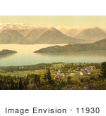 #11930 Picture Of A Village On Lake Lucerne