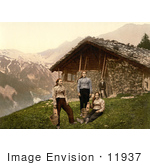 #11937 Picture Of People Outside A House In Champery Switzerland
