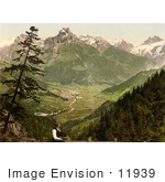 #11939 Picture Of A Man Viewing Engelberg Valley