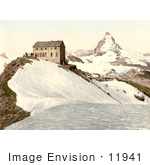#11941 Picture Of A Train Station Near Matterhorn Mountain Switzerland