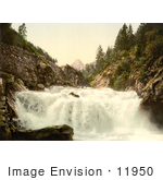 #11950 Picture Of A Waterfall In The Swiss Alps