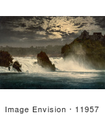 #11957 Picture Of Rhine Falls And Laufen Castle At Night