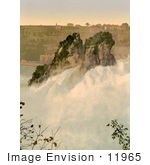 #11965 Picture Of The Rocks In The Center Of Rhine Falls