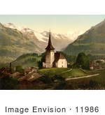#11986 Picture Of A Church And Swiss Alps Frutigen Switzerland