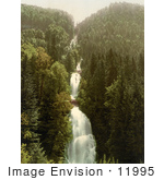 #11995 Picture Of Bridges Over A Mountainside Waterfall In Switzerland