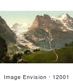 #12001 Picture Of A Church With A View Of Eiger Mountain Baregg Glacier