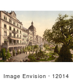 #12014 Picture Of People In Grand Hotel Victoria'S Garden Interlaken