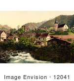 #12041 Picture Of A River And Homes In Burglen Switzerland