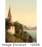 #12049 Picture Of A Church On Geneva Lake Dent Du Midi Mountains