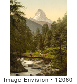 #12060 Picture Of A Person Crossing Vispach Bridge Matterhorn Mountain