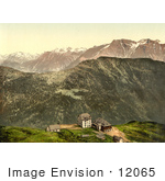 #12065 Picture Of Buildings On A Cliff In The Swiss Alps