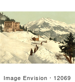 #12069 Picture Of People Walking In A Snow Path Leysin Switzerland
