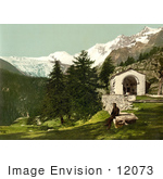 #12073 Picture Of A Man Seated Near A Chapel In The Swiss Alps